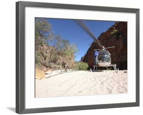 Helicopter on Sand at Bullo River Station, Near Kununurra, Northern Territory, Australia-Michael Gebicki-Framed Art Print