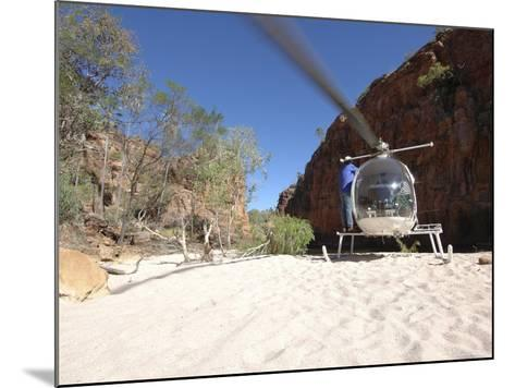 Helicopter on Sand at Bullo River Station, Near Kununurra, Northern Territory, Australia-Michael Gebicki-Mounted Photographic Print