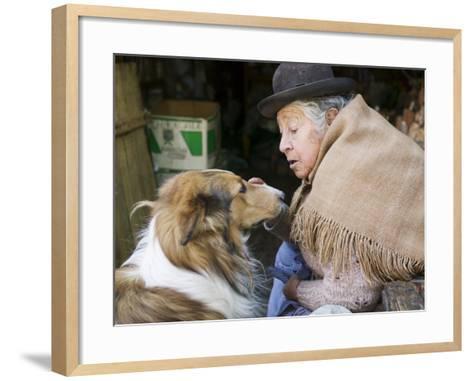 Elderly Female Vendor at Mercado de Los Brujas with Her Dog, La Paz, Bolivia-Brent Winebrenner-Framed Art Print