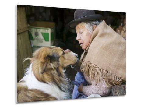 Elderly Female Vendor at Mercado de Los Brujas with Her Dog, La Paz, Bolivia-Brent Winebrenner-Metal Print