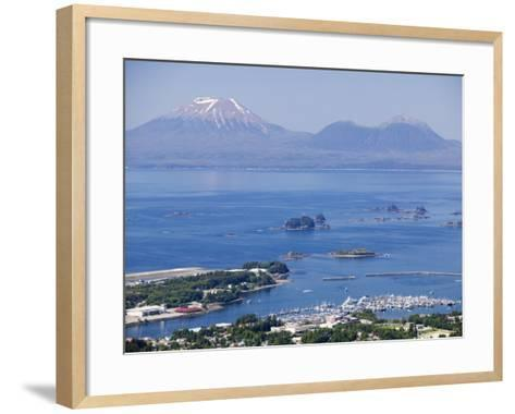Town with Mt. Edgecumbe in Background, Sitka, Alaska-Brent Winebrenner-Framed Art Print