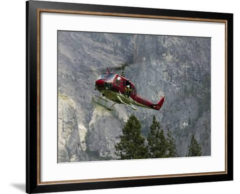 Rescue Helicopter in Front of One of Yosemite Valley's Big Walls-Brent Winebrenner-Framed Art Print