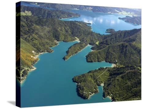 Waterfall Bay and Mistletoe Bay, Marlborough Sounds, New Zealand-David Wall-Stretched Canvas Print