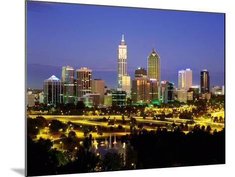 City Skyline with Central Business District at Dusk, Perth, Western Australia-Ross Barnett-Mounted Photographic Print