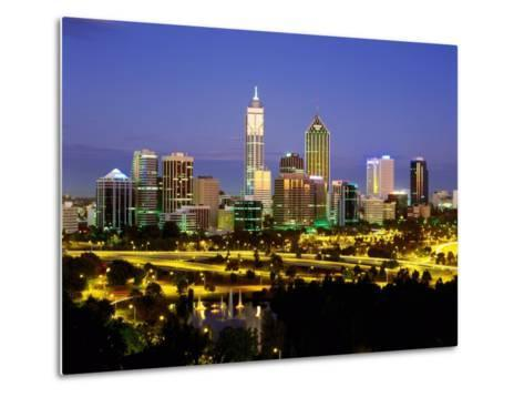 City Skyline with Central Business District at Dusk, Perth, Western Australia-Ross Barnett-Metal Print