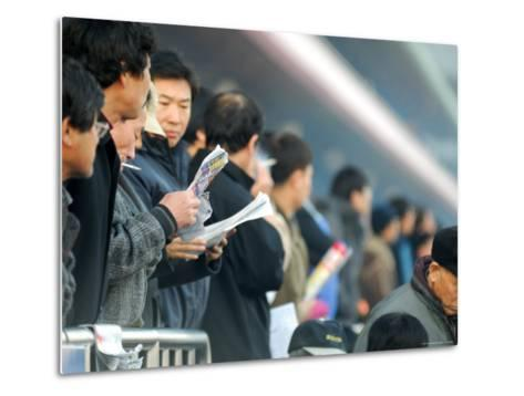 People Studying Form Guide at Seoul Racecourse, Seoul, South Korea-Anthony Plummer-Metal Print