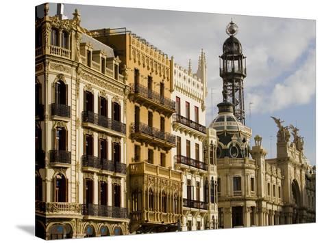 Modernista Facades along Plaza del Ayuntamiento, Central, Valencia, Spain-Greg Elms-Stretched Canvas Print