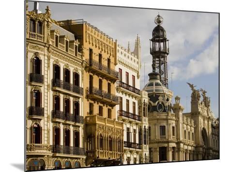 Modernista Facades along Plaza del Ayuntamiento, Central, Valencia, Spain-Greg Elms-Mounted Photographic Print