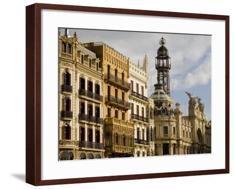 Modernista Facades along Plaza del Ayuntamiento, Central, Valencia, Spain-Greg Elms-Framed Art Print