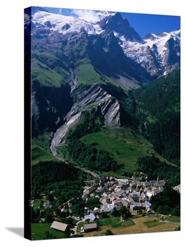 Le Chazalet, La Grave Village Below, with la Meije Rhone-Alpes, France-John Elk III-Stretched Canvas Print