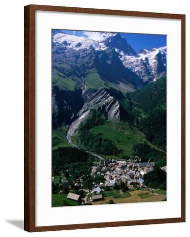 Le Chazalet, La Grave Village Below, with la Meije Rhone-Alpes, France-John Elk III-Framed Art Print