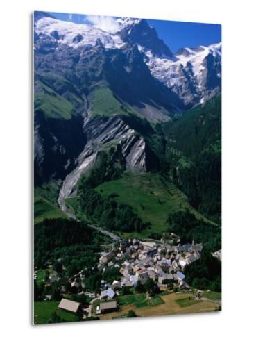 Le Chazalet, La Grave Village Below, with la Meije Rhone-Alpes, France-John Elk III-Metal Print