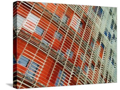 Facade Detail of the Torre Agbar, Barcelona, Catalonia, Spain-Krzysztof Dydynski-Stretched Canvas Print