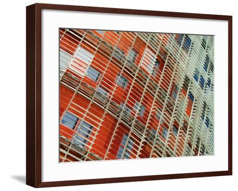 Facade Detail of the Torre Agbar, Barcelona, Catalonia, Spain-Krzysztof Dydynski-Framed Art Print
