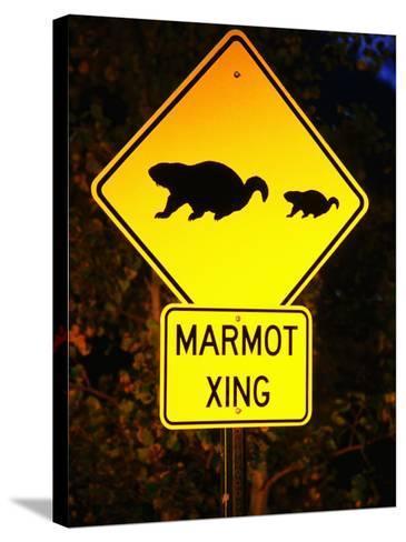 Marmot Crossing Sign Near Maroon Bells, Aspen, Colorado-Holger Leue-Stretched Canvas Print