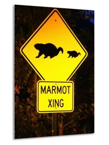 Marmot Crossing Sign Near Maroon Bells, Aspen, Colorado-Holger Leue-Metal Print