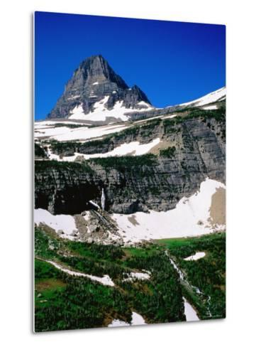 Mid-Summer Snow on Mountain, Glacier National Park, Montana-Holger Leue-Metal Print