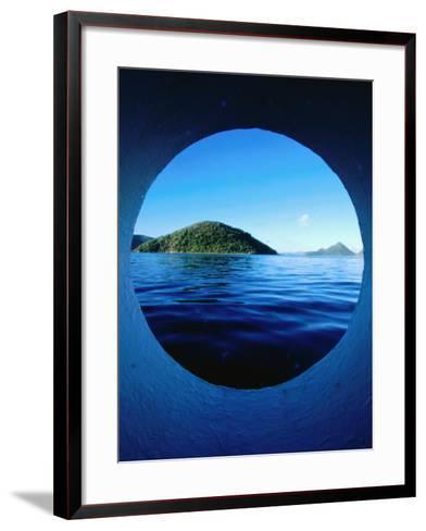 Islands Seem from Star Clipper Porthole, Tortola-Holger Leue-Framed Art Print