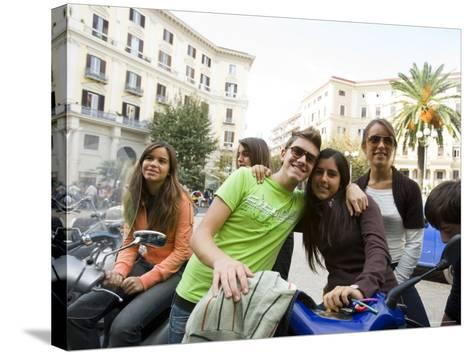 Teenagers Hanging Out in Piazza Vanvitelli, Vomero, Naples, Campania, Italy-Greg Elms-Stretched Canvas Print