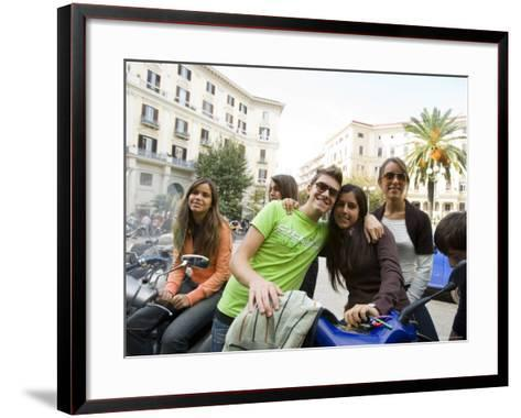 Teenagers Hanging Out in Piazza Vanvitelli, Vomero, Naples, Campania, Italy-Greg Elms-Framed Art Print