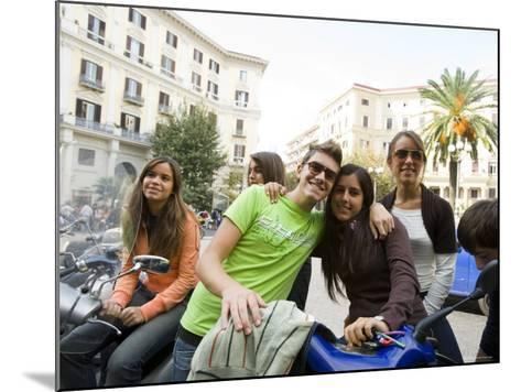 Teenagers Hanging Out in Piazza Vanvitelli, Vomero, Naples, Campania, Italy-Greg Elms-Mounted Photographic Print