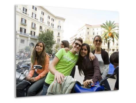 Teenagers Hanging Out in Piazza Vanvitelli, Vomero, Naples, Campania, Italy-Greg Elms-Metal Print