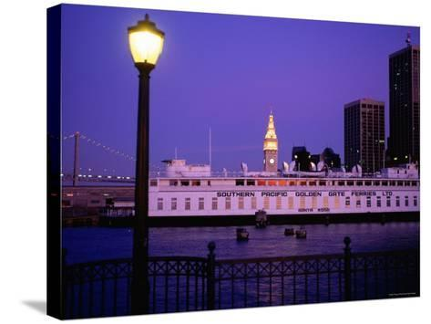 Ferry Building from Pier 5, Dusk, San Francisco, California-Thomas Winz-Stretched Canvas Print