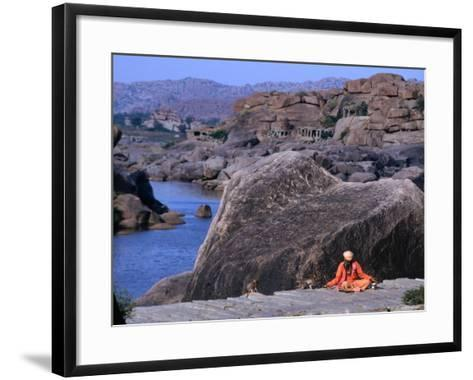 Beggar Shares His Food with Monkeys along the River in Vijayanagar, India-Margie Politzer-Framed Art Print