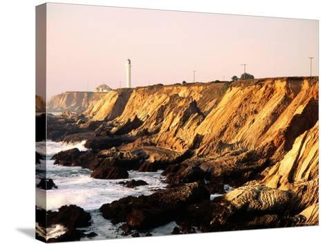 Historic Lighthouse on Coastal Cliffs, Point Arena, California-John Elk III-Stretched Canvas Print