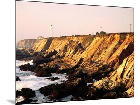 Historic Lighthouse on Coastal Cliffs, Point Arena, California-John Elk III-Mounted Photographic Print