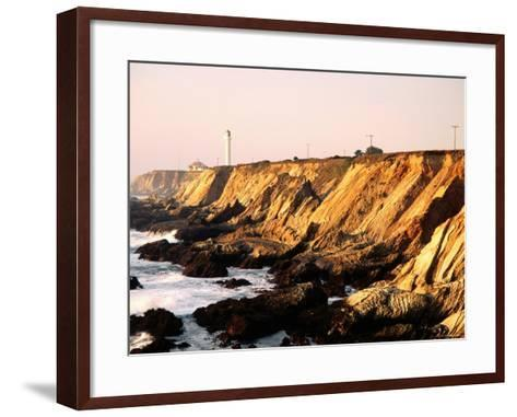 Historic Lighthouse on Coastal Cliffs, Point Arena, California-John Elk III-Framed Art Print