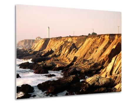 Historic Lighthouse on Coastal Cliffs, Point Arena, California-John Elk III-Metal Print
