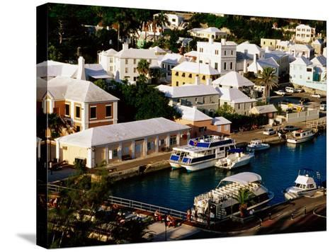 Waterfront Houses and Boats at Dock, St. George's Island, St. George's Parish, Bermuda-Richard Cummins-Stretched Canvas Print