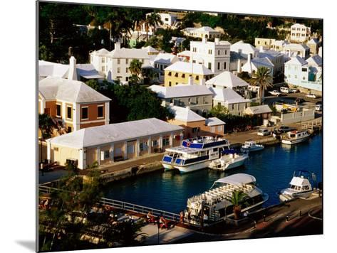 Waterfront Houses and Boats at Dock, St. George's Island, St. George's Parish, Bermuda-Richard Cummins-Mounted Photographic Print