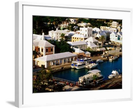 Waterfront Houses and Boats at Dock, St. George's Island, St. George's Parish, Bermuda-Richard Cummins-Framed Art Print