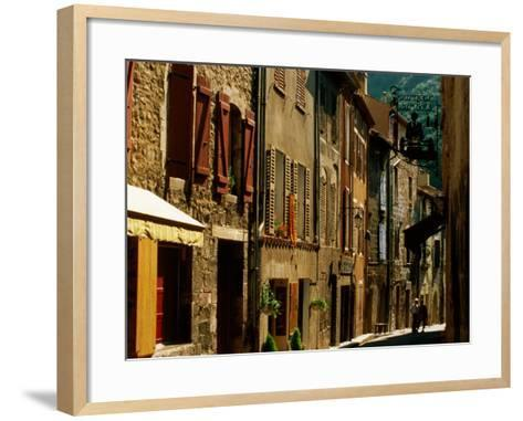 Houses and Other Buildings, Rue St. Jean, Villefranche de Conflent, Languedoc-Roussillon, France-David Tomlinson-Framed Art Print