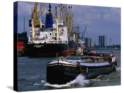 Ships in Rotterdam Harbour, Rotterdam, South Holland, Netherlands-John Elk III-Stretched Canvas Print