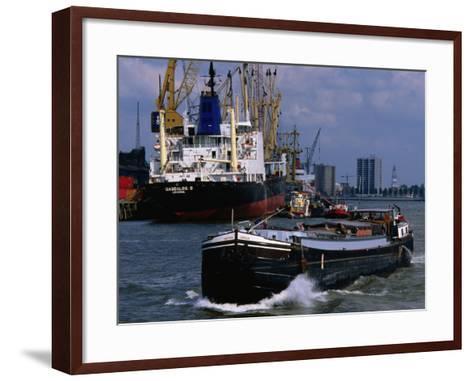 Ships in Rotterdam Harbour, Rotterdam, South Holland, Netherlands-John Elk III-Framed Art Print