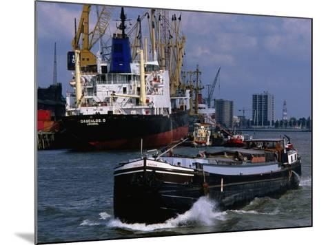 Ships in Rotterdam Harbour, Rotterdam, South Holland, Netherlands-John Elk III-Mounted Photographic Print
