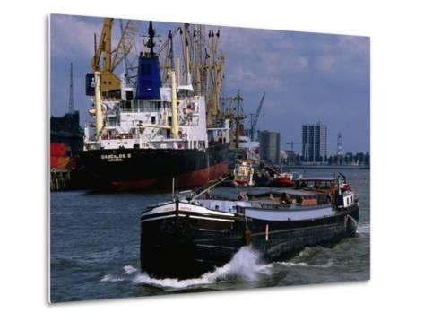 Ships in Rotterdam Harbour, Rotterdam, South Holland, Netherlands-John Elk III-Metal Print