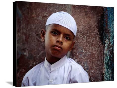 Muslim Boy in Chandni Chowk, Delhi, India-Daniel Boag-Stretched Canvas Print