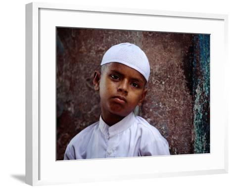 Muslim Boy in Chandni Chowk, Delhi, India-Daniel Boag-Framed Art Print