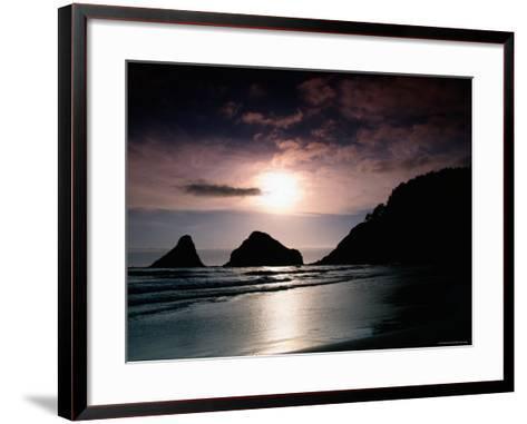 Rocky Outcrops Silhouetted, Heceta Head State Beach, Florence, Oregon-Richard Cummins-Framed Art Print