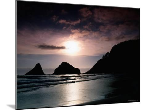 Rocky Outcrops Silhouetted, Heceta Head State Beach, Florence, Oregon-Richard Cummins-Mounted Photographic Print