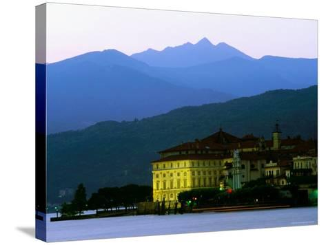 Isola Bella Lakeside Buildings Seen from Stresa at Dusk, Lago Maggiore, Piedmont, Italy-Glenn Van Der Knijff-Stretched Canvas Print
