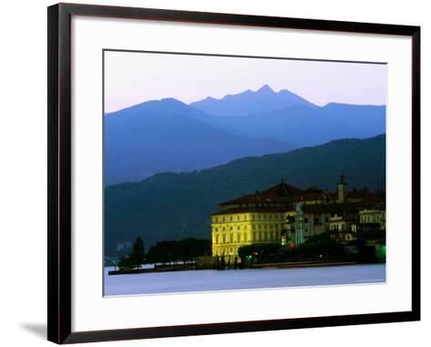 Isola Bella Lakeside Buildings Seen from Stresa at Dusk, Lago Maggiore, Piedmont, Italy-Glenn Van Der Knijff-Framed Art Print