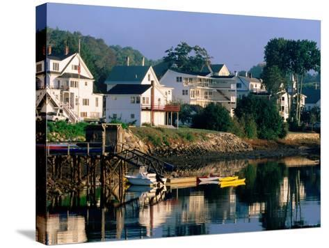 Houses along Boothbay Harbor, Boothbay, Maine-John Elk III-Stretched Canvas Print