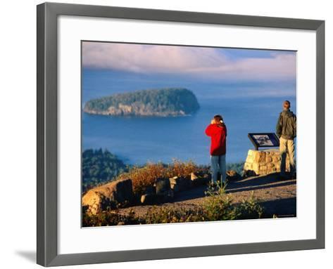 Cadillac Mountain, Visitors on Summit, Evening, Acadia National Park, Maine-John Elk III-Framed Art Print