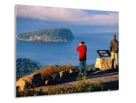 Cadillac Mountain, Visitors on Summit, Evening, Acadia National Park, Maine-John Elk III-Metal Print