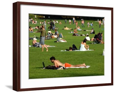 Lawn Scene, Central Park, New York City, New York-Dan Herrick-Framed Art Print
